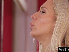 A Pole dancer fingers her lover to an intense orgasm
